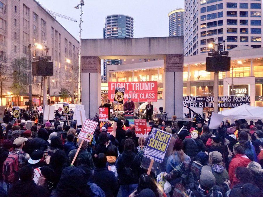 Speakers took the stage at Westlake in Seattle on the evening of the Inauguration.
