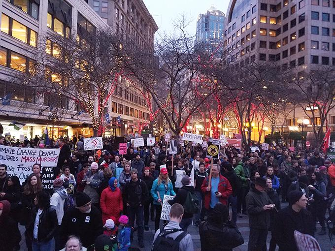 By evening, the crowd had doubled in size on the night of the inauguration protest.