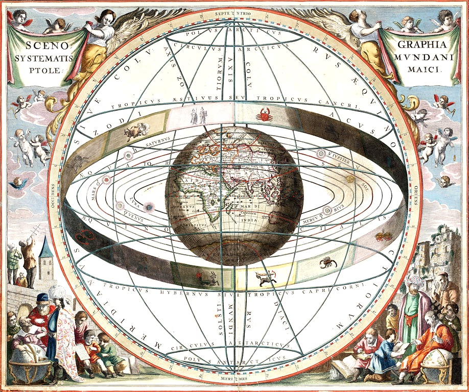 "Andreas Cellarius' ""Harmonia Macrocosmica"" displays the celestial sphere, banded around the center by the signs of the zodiac."
