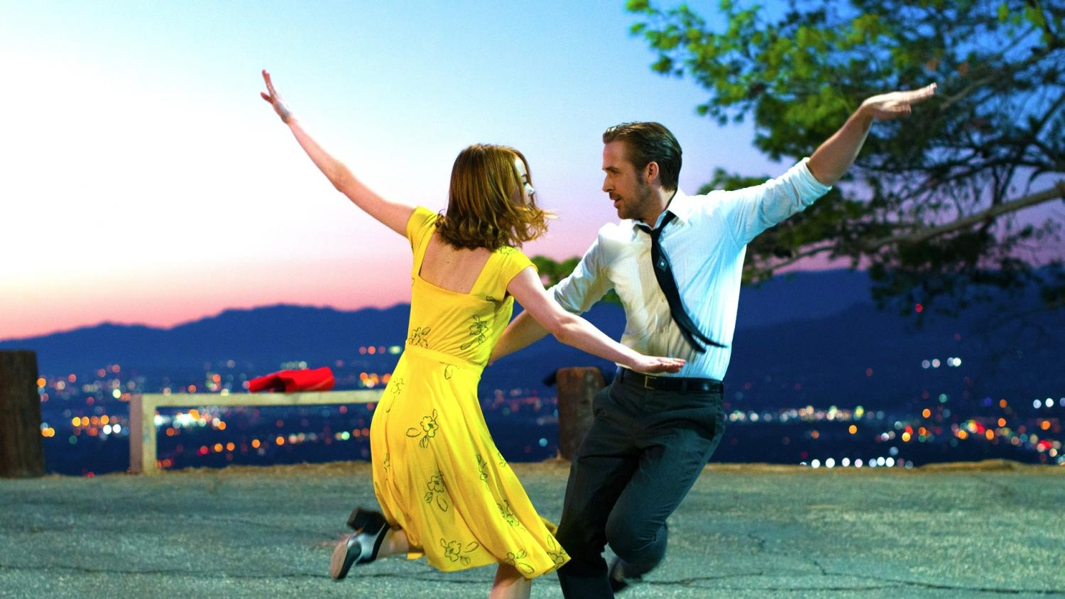 "Emma Stone as Mia and Ryan Gosling as Sebastian sing and dance their way through Los Angeles as they search for love and success in ""La La Land."""