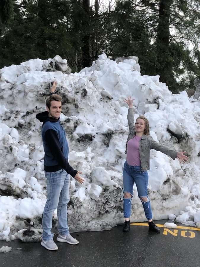 "Triton Review Editors Brendan Davis (6') and Madeleine Jenness (5'3"") enjoying the snow"