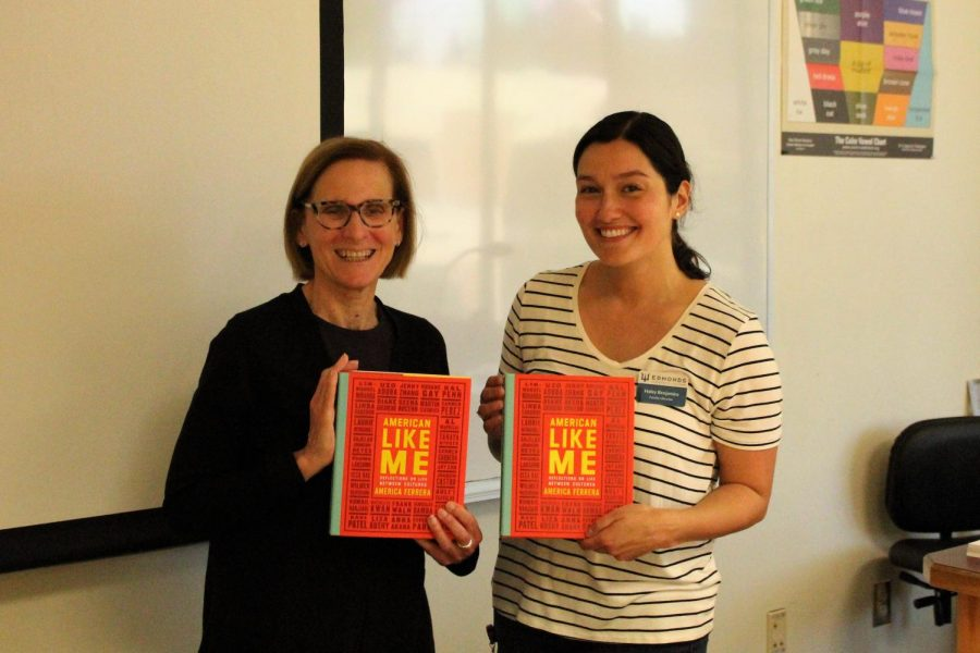 Merryl Gefner and Haley Benjamin, EdCC's librarians, pose with  hardback copies of the Community Read.
